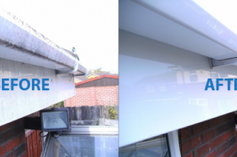 Roof gutter cleaning before and after